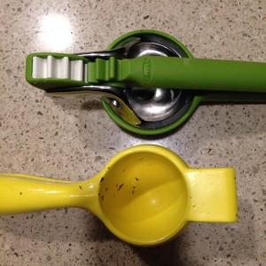 Comparison:  Green Chef'n Juicer Yellow No Name Aluminum Juicer